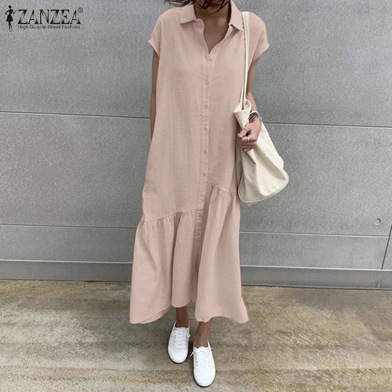 فستان صيفي أنيق للنساء من ZANZEA موضة 2021 قميص سادة فستان ماكسي بأكمام قصيرة فساتين نسائي رداء نسائي غير رسمي بطية صدر