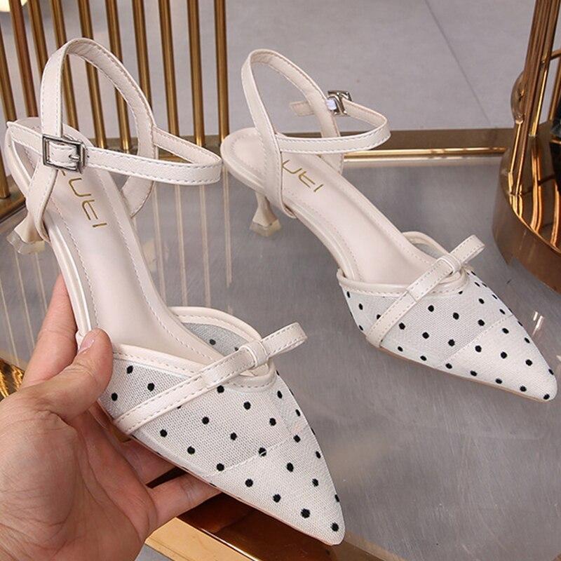 Polka dot apontou dedo do pé estilingue ar malha bombas mulheres sexy tornozelo fivela banda único sapatos arco-nó thic sapatos de salto alto mulher