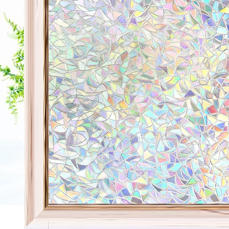 3D Rainbow Effect Window Films Privacy Decorative Film Anti-UV Non-Adhesive Static Cling Glass Stick