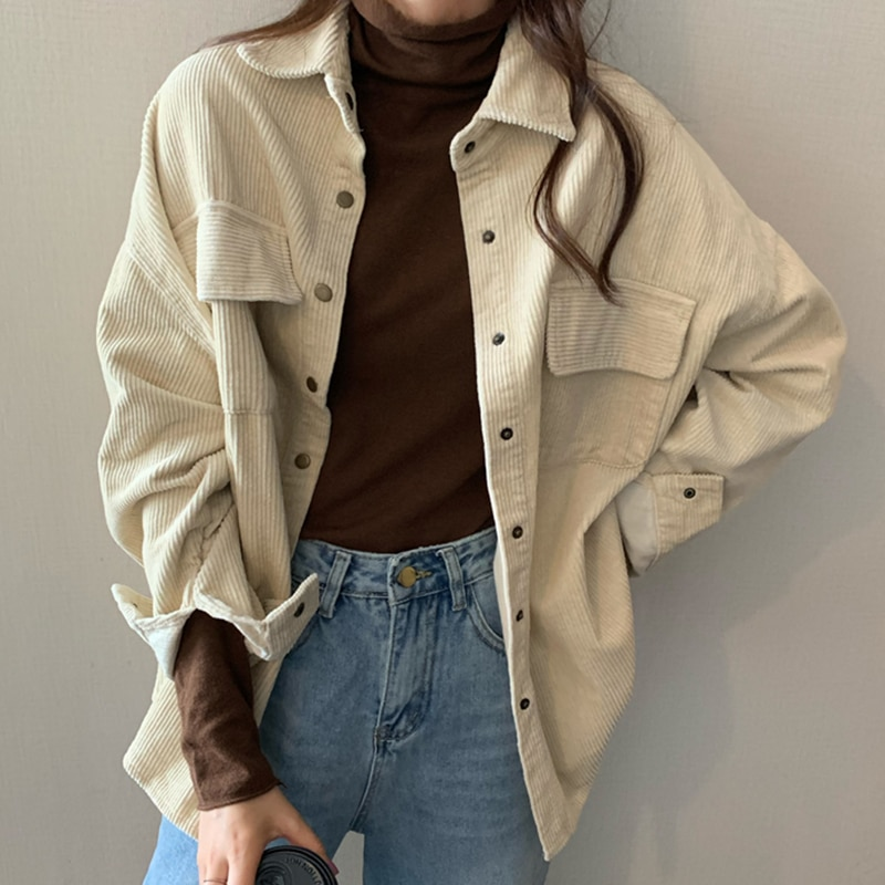 Spring New Women Solid Corduroy Shirts Jackets Full Sleeve Turn-Down Collar Oversize Coats Casual Au