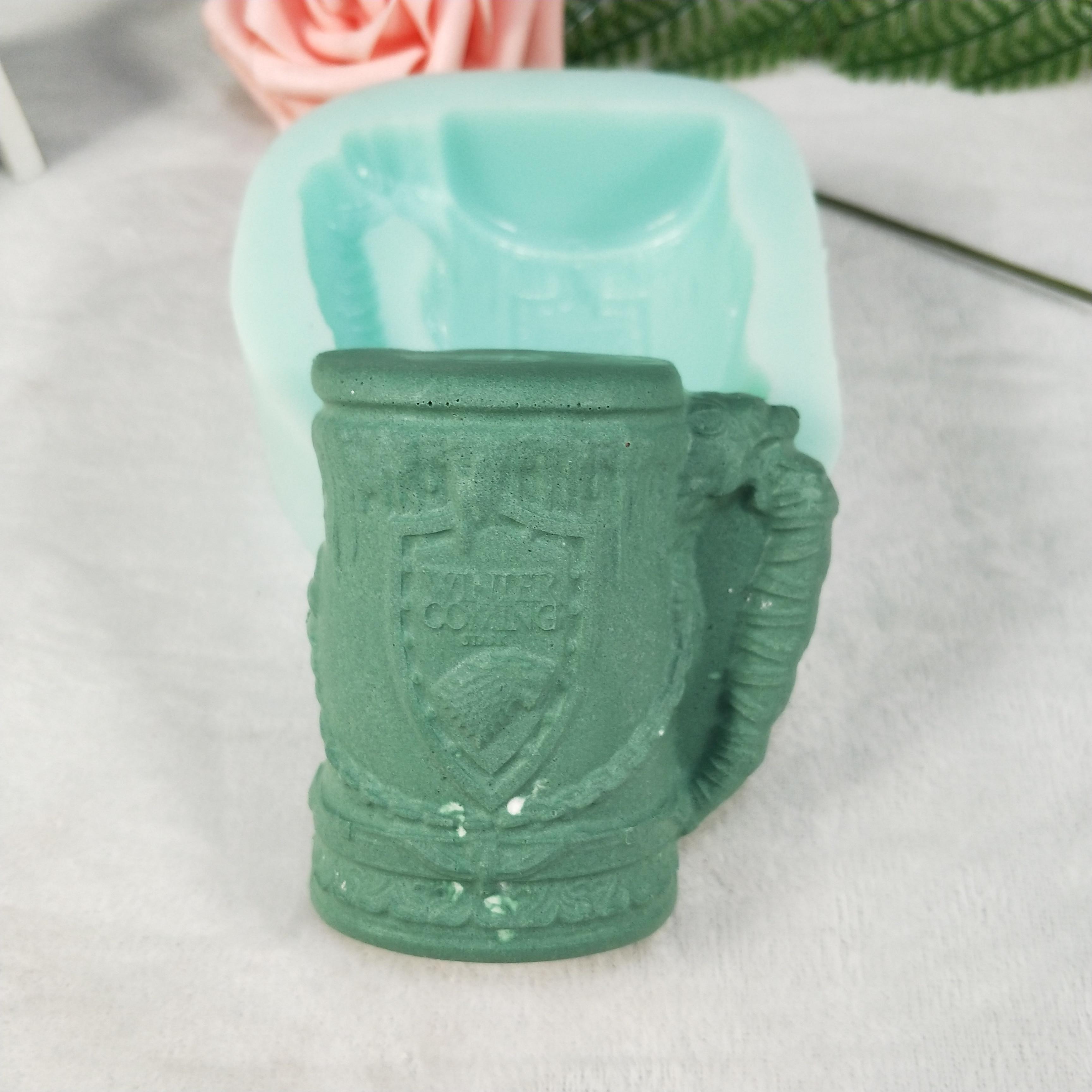 QT0256 PRZY molde de silicona, moldes de jabón para taza de cerveza, molde de caramelo para vela de Chocolate de yeso, moldes para taza de cerveza 2D, moldes de resina para fabricación de jabón