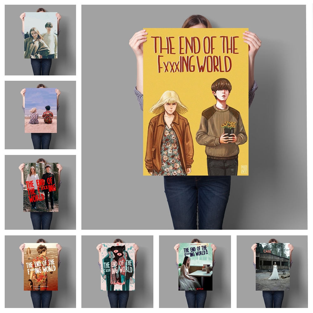 """Self-adhesive Paint British Romantic Comedy Tv Series """"the End of the World"""" Starring Alex Lowther and Jessica Baden"""