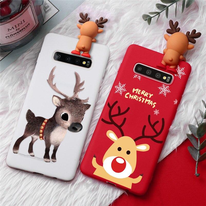 3D de dibujos animados de Navidad ciervos caso para Samsung Galaxy S8 S9 S10 más S7 borde S10E A10 A20 A30 A40 A50 A70 Nota 8 9 10 TPU cubierta