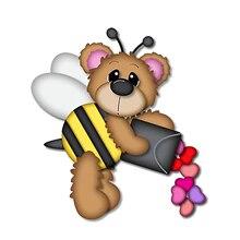Joli ours abeille LoveNec matrices de découpe   En métal, pochoir de poupées danimaux pour bricolage, carte de Scrapbooking, gaufrage décoratif