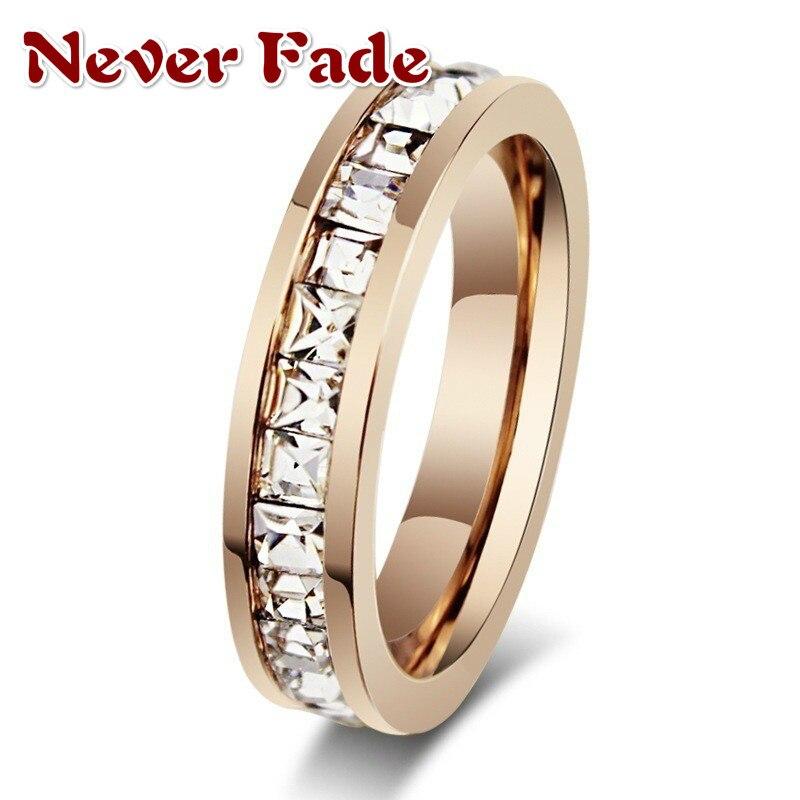 Nigdy nie znikną kobieta kryształ CZ kamienny pierścień stal nierdzewna vintage kobiety obrączki moda obietnica żółty złoty pierścionek zaręczynowy