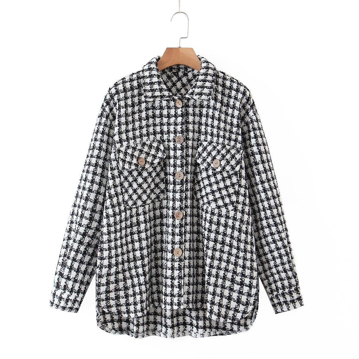 2021 Spring Autumn Jacquard Shirt Coat Women White Black Plaid Single Breasted Casual Slim Female Jackets Coats Ropa Mujer