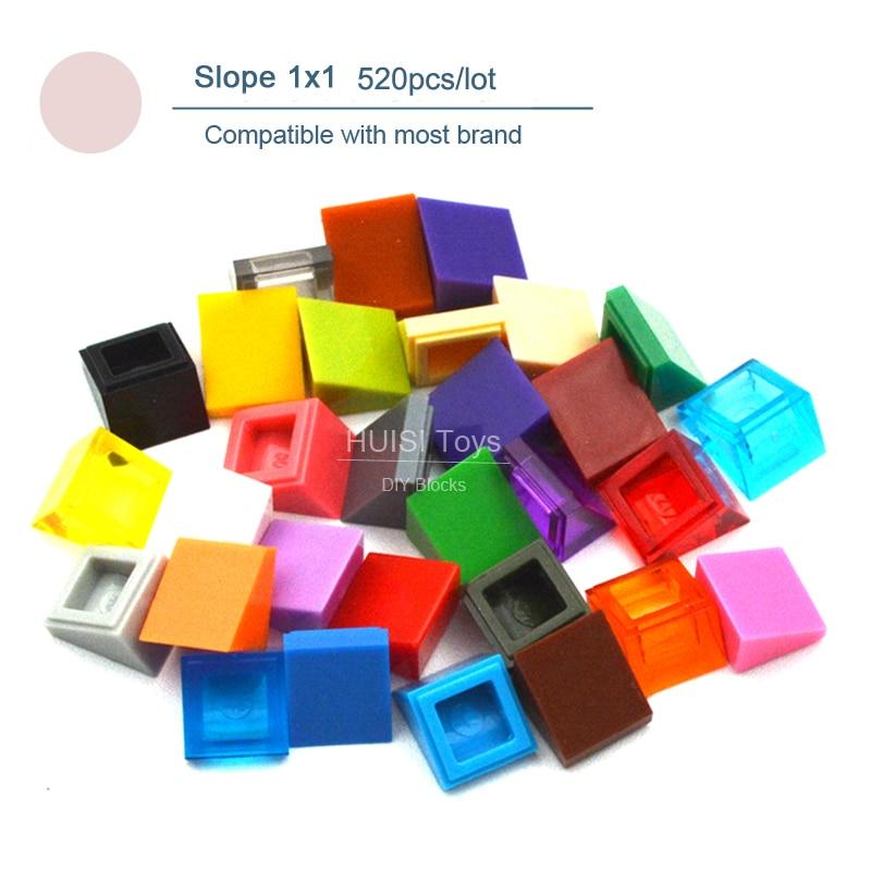 Pendiente de ladrillo estándar 1x1 ABS, piezas de bloques de construcción, modelo MOC DIY, juguetes creativos para adultos y niños, conjunto de 520 Uds.