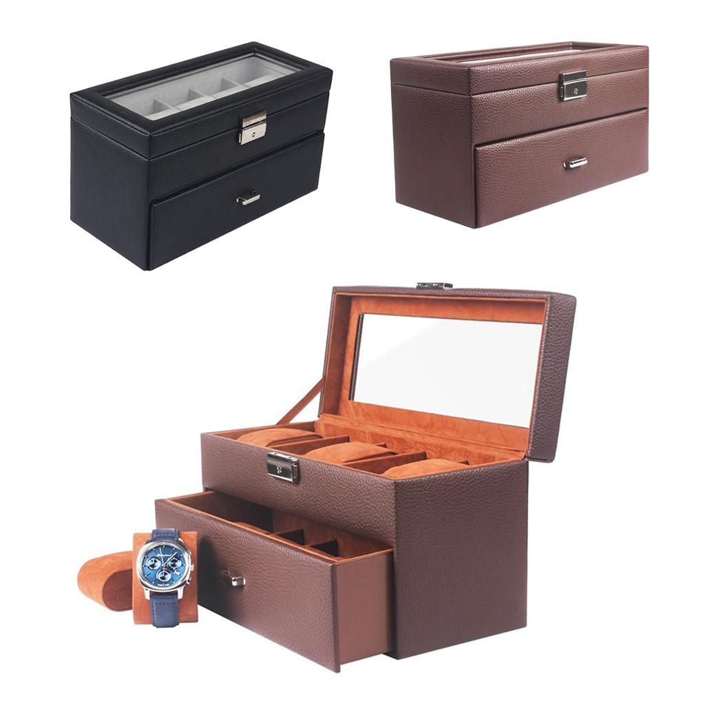 10 ranuras de 2 niveles de cuero PU caja de reloj cajón titular vitrina para reloj con tapa