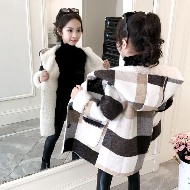 3 13t meninas inverno casaco de la 2020 novo xadrez grosso cashmere casacos menina