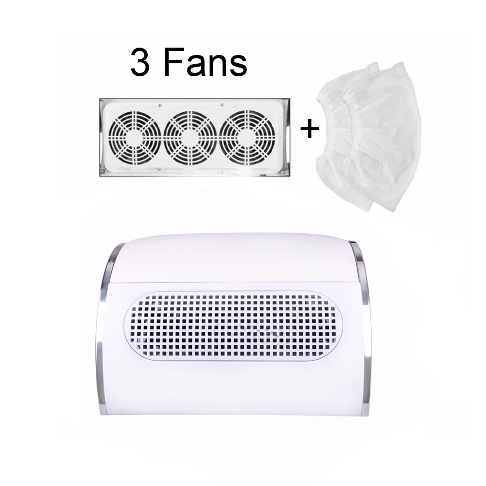 60W Nail Suction Dust Collector Large Size Strong Nail Vacuum Cleaner Machine With 3 fans 2 bags EU/