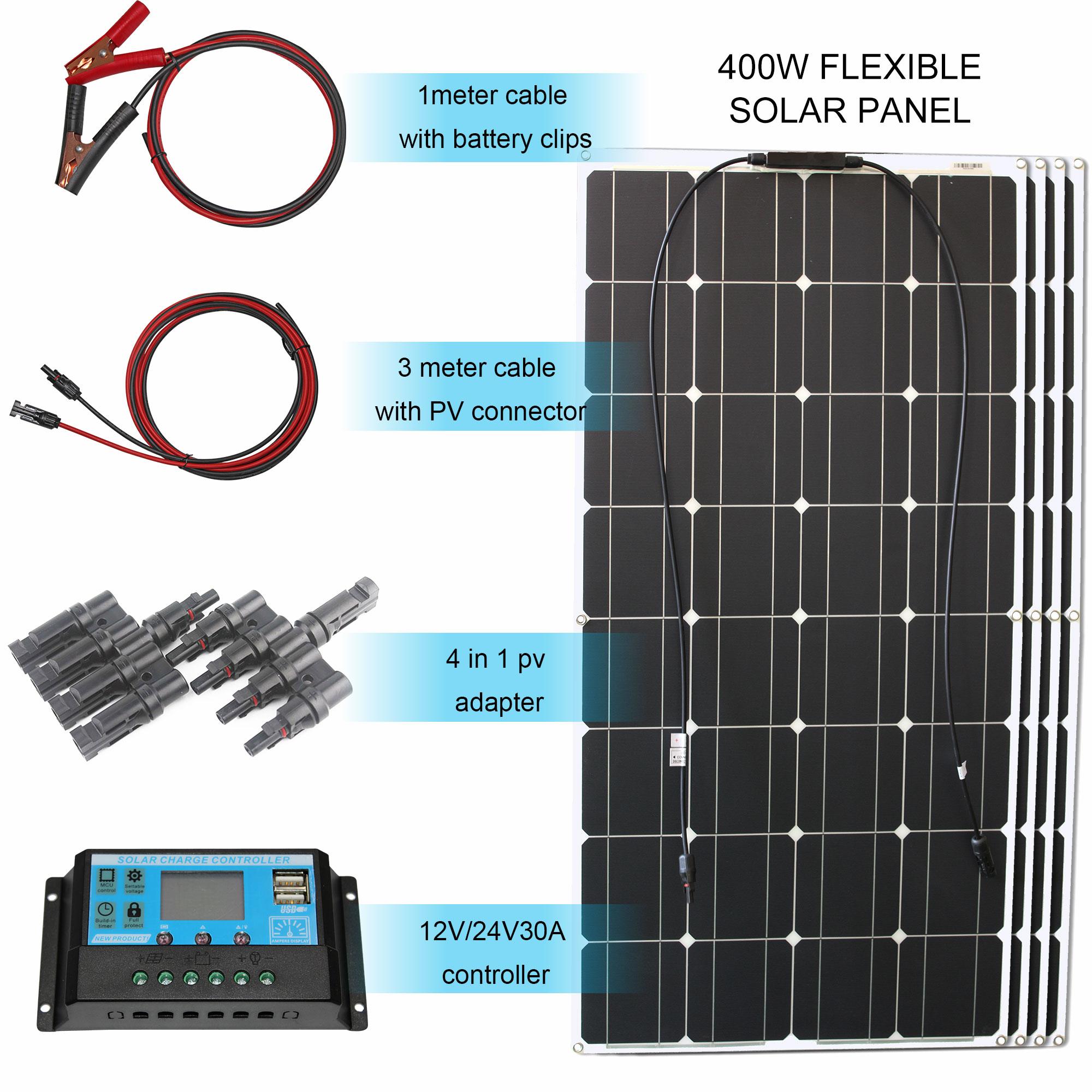 مجموعة اللوحة الشمسية كاملة 400 واط 300 واط 200 واط 100 واط 12 فولت مرنة لوحة الطاقة الشمسية ل شاحن بطارية الشمسية/قوة البنك/التخييم/التنزه