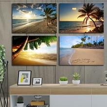 Sunset Meer Ansicht Tropical Miami Strand Am Meer Landschaft Coco Mutter Baum Poster Drucke Leinwand Kunst Wand Kunst Malerei Bild Hause déc