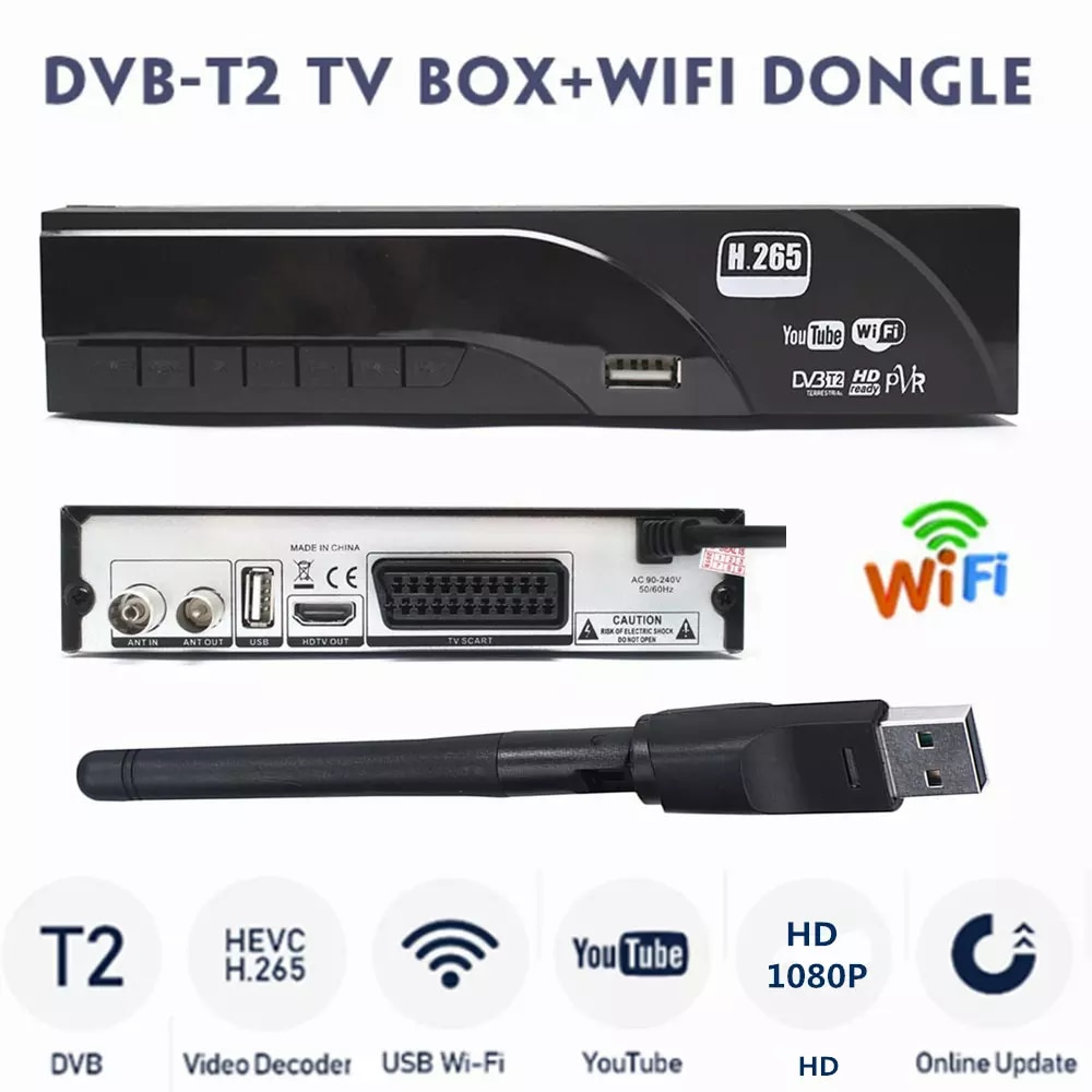 Hot Selling Europe H.265/HEVC 1080P Decoder DVB-T2 HD Digital Terrestrial Receiver DVB-T TV Tuner Support M3U Youtube+USB WIFI недорого