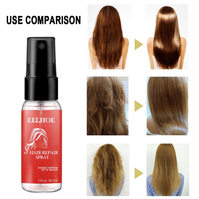 Spray de reparo do cabelo melhorar a flexibilidade do cabelo & brilho cuidados com o cabelo essência anti-frizz reparação suave danificado cabelo óleo essência tslm1