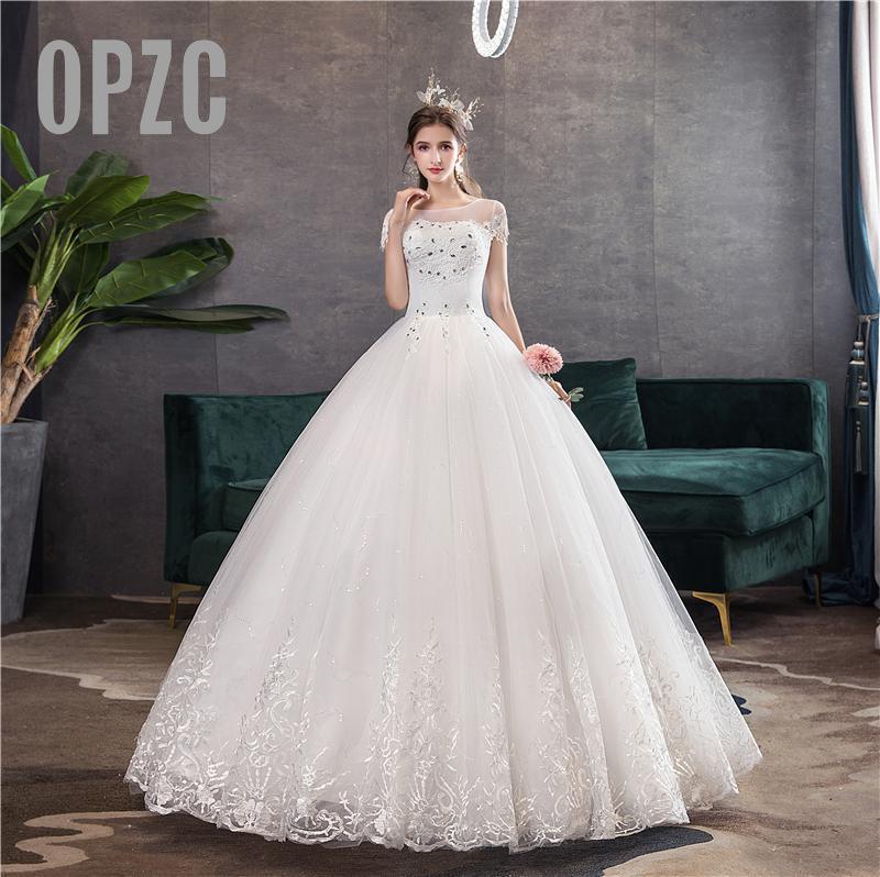 Nova chegada iinda vestido de casamento cristal apliques bordado rendas manga curta sexy querida vestido de noiva