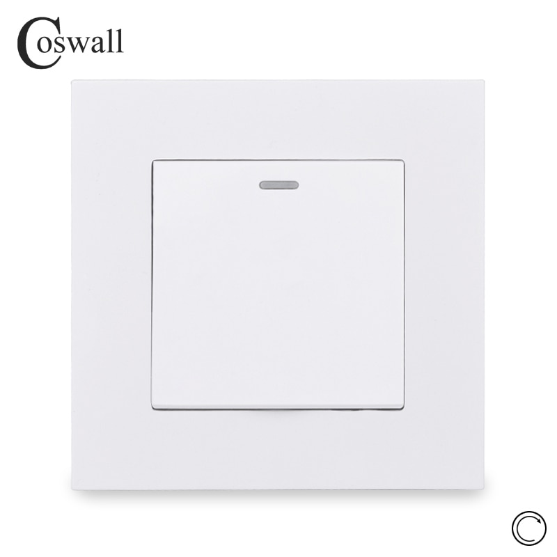 Coswall estilo simples painel de computador 1 gang 1 vias interruptor de reset interruptor de pulso momentâneo contato interruptor de botão interruptor de luz de parede 16a
