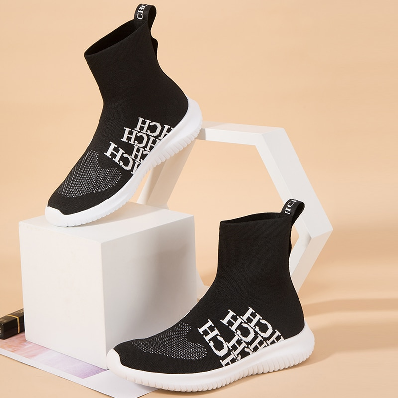 CHCH Fashion Children's Socks Shoes High-top Boots Elastic Fabric Kids Shoes Causal Sneakers Color Matching enlarge
