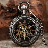 transparent glass manual mechanical pocket watch rose gold roman numerals display hand winding pocket pendant retro clock gifts