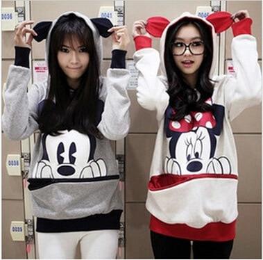 Autumn and Winter Plus Size Loose Women's Sweatshirt Mickey Cartoon Print Long Sleeve Pullovers Female Hoodies