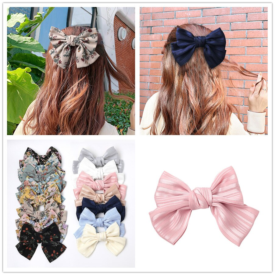 New Flower Silk Big Bow Floral Knot Hairpin Women Girls Hair Clip Pin Barrette Accessories Hairclip Ornaments Headdress Headwear