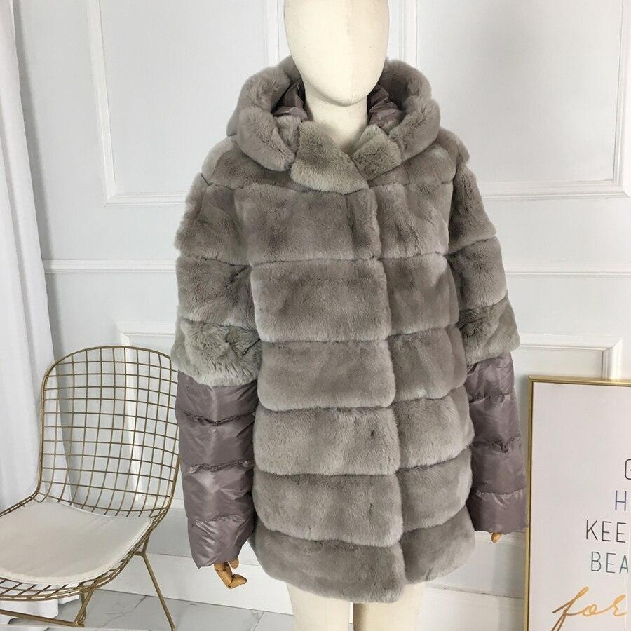 معطف نسائي بغطاء للرأس من فرو الأرانب ، أصلي ، طبيعي ، عالي الجودة ، دافئ ، قصير ، شتوي ، 100%