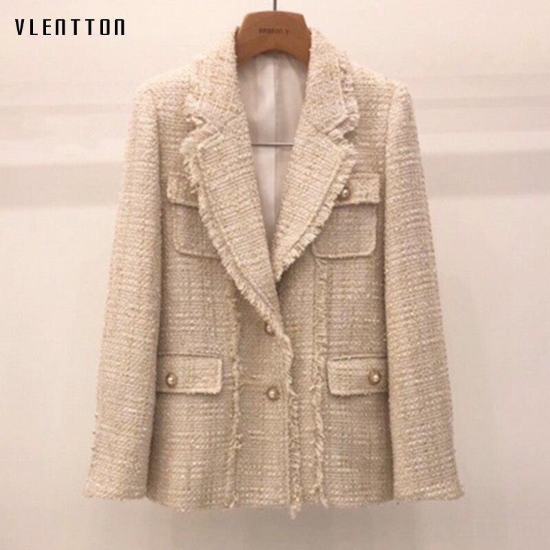 Autumn Winter Vintage Plaid Tweed Slim Suit Jacket Women Korean Pearls Button Outwear Coat Female Tops Office Blazer Feminino
