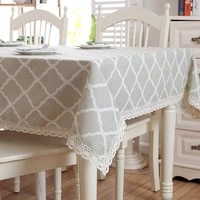 modern rectangular tablecloth lace geometry rhombus cotton linen table cloth washable tea table fabric for christmas banquet