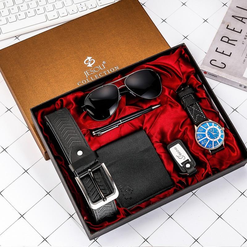 Elegant Men Watch Set for Men Quartz-watch Glasses Leather Belt Wallet Keychain Pen Men's Gift Set B