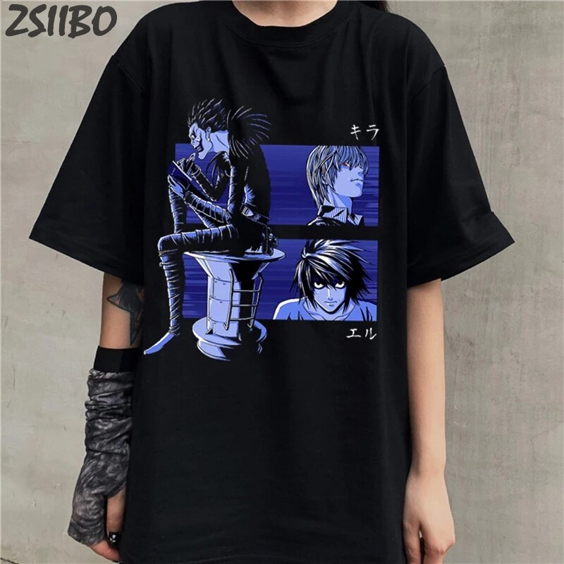 Novidade death note shinigami ryuk unisex anime t camisa masculina legal manga curta japonês manga leve yagami l camiseta masculina casual