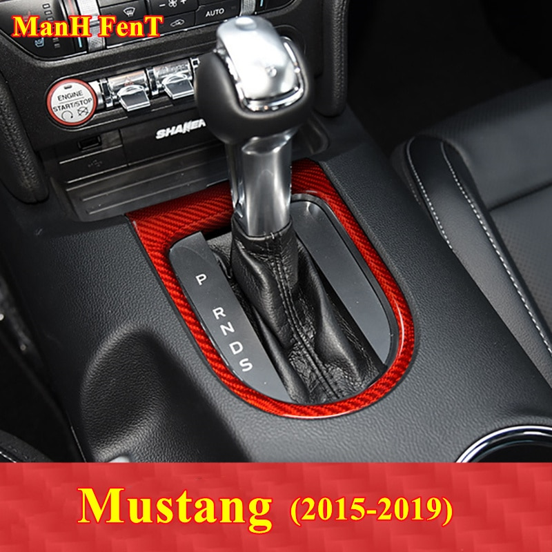 For Ford Mustang Gear Frame Real Carbon Fiber Decoration Sticker Interior Accessories 2015-2019