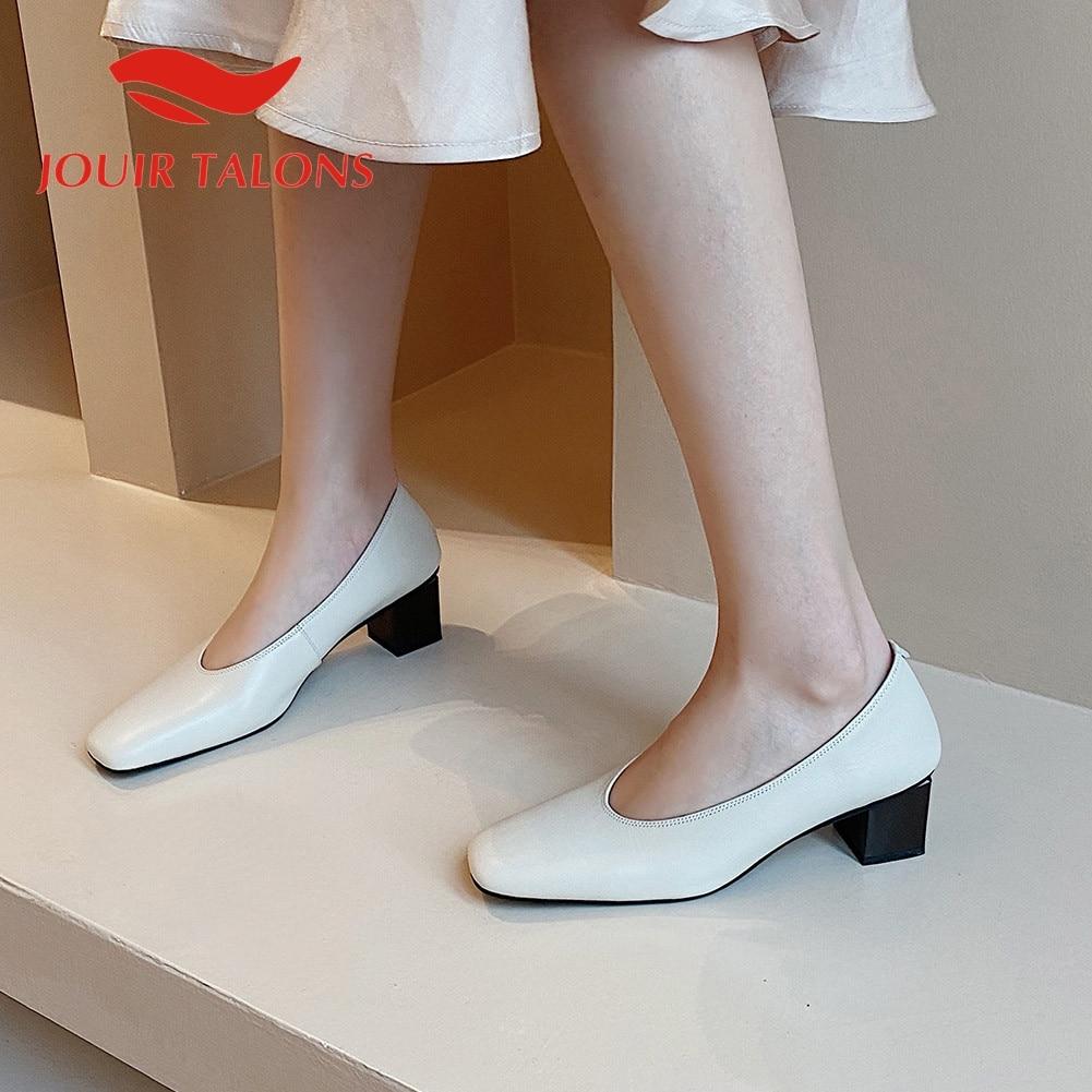 JOUIR TALONS 2020 Brand Design Genuine Leather Women Sandals Square Toe Strange Style Heels Pumps Summer Dress Shoes