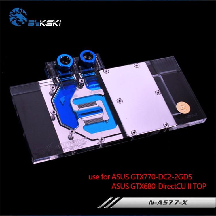 Bykski Gpu Water Block use for ASUS GTX770-DC2 / GTX680 DCUII /Full Cover Graphics Card Copper Radiator Block 4PIN 12V RGB Light