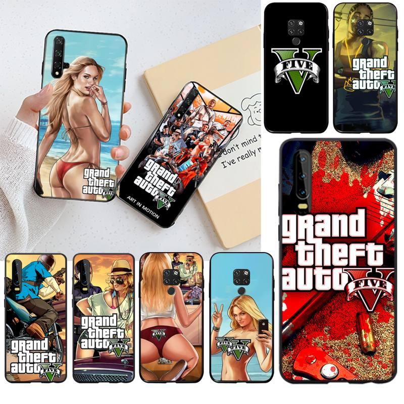 HPCHCJHM Hot Grand Theft Auto GTA 5, funda de teléfono para Huawei P30 P20 lite Mate 20 Pro lite P Smart 2019 prime