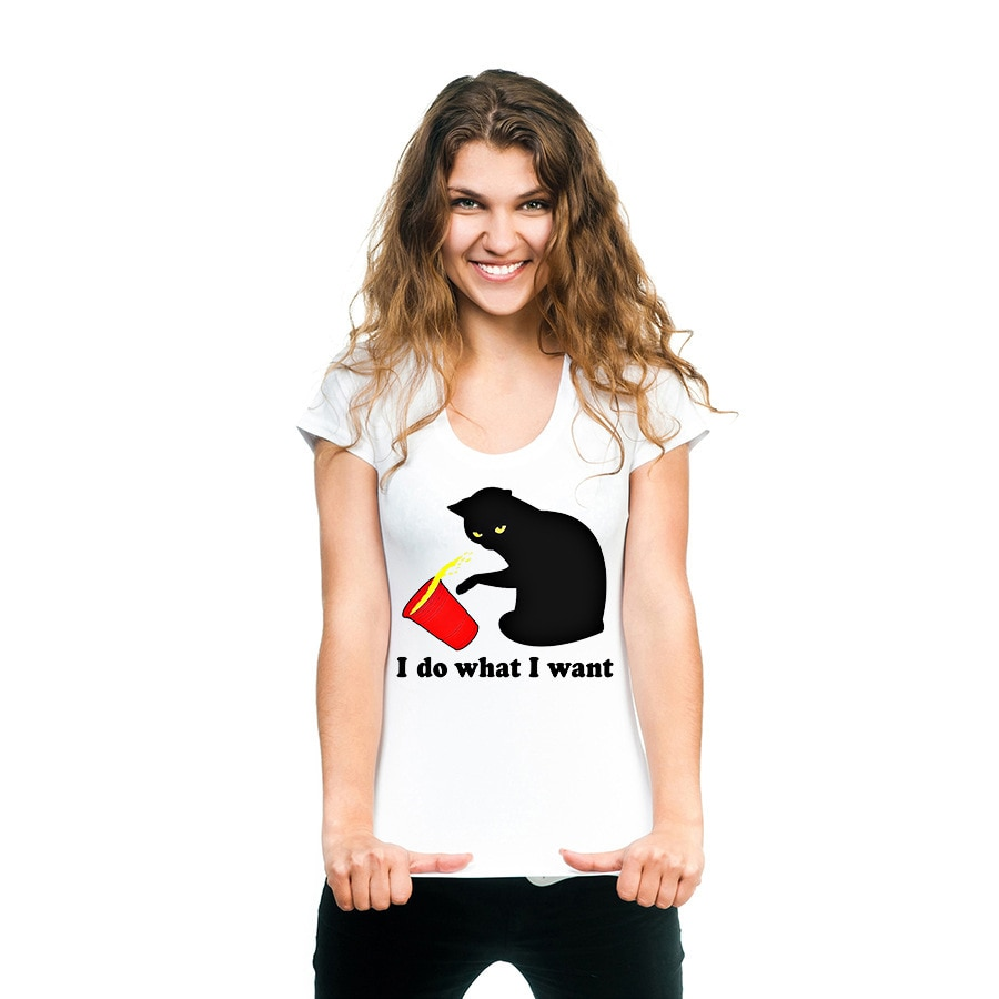 Camiseta con estampado de gato I DO WHAT I WANT, Camiseta holgada de manga corta con cuello redondo para mujer, camiseta a la moda de verano 2020 para mujer
