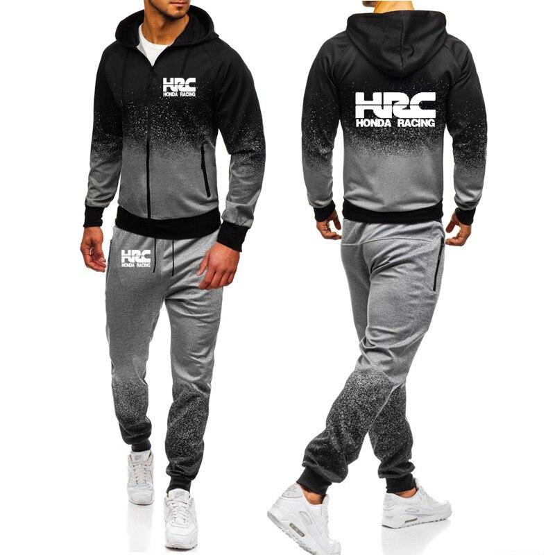 HRC Sudadera con capucha para hombre diseño de logotipo de coche de carrera Casual Harajuku Color degradado con capucha polar cremallera chaqueta pantalones de chándal traje de 2 piezas