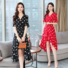 Polka dot dress European and American summer 2021 summer new irregular dress female mid-length V nec