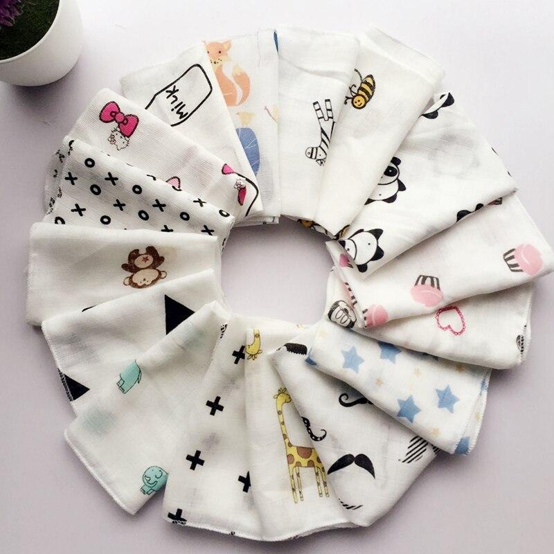 10pcs Baby Infant Towel 28*28cm Muslin Towel Handkerchiefs Two Layers Wipe Towel random delivery