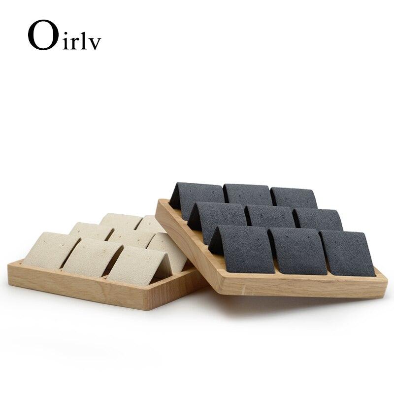 Oirlv de madera maciza Beige y gris oscuro 9 asientos soporte de exhibición de aretes con microfibra para Exhibidor de joyas