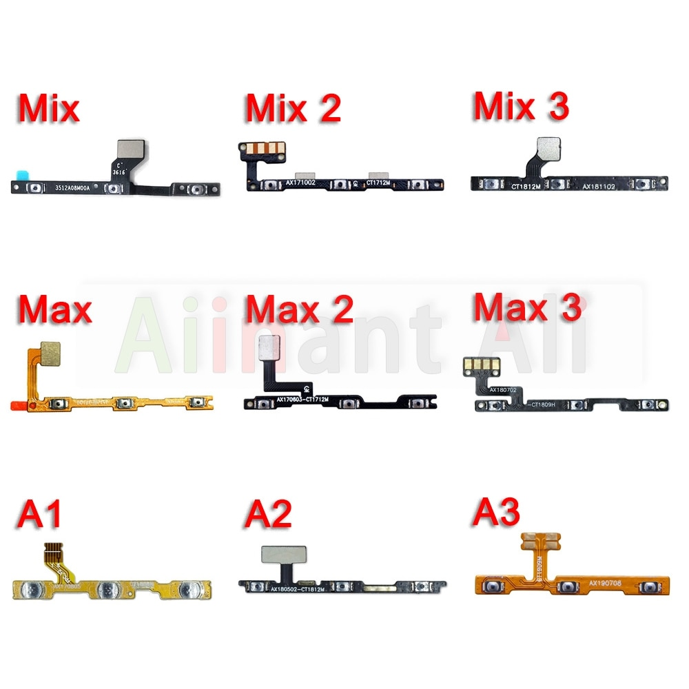 Side Switch Volume Button On-Off Key Power Flex Cable For Xiaomi Mi Note Max Mix 2 2s 3 F1 A3 A2 A1 Lite Pro Power Flex 100% new for xiaomi mi 6 5 5c 5s plus 4 4c 4i 4s mix 2s max 3 2 power switch on off key volume button flex cable