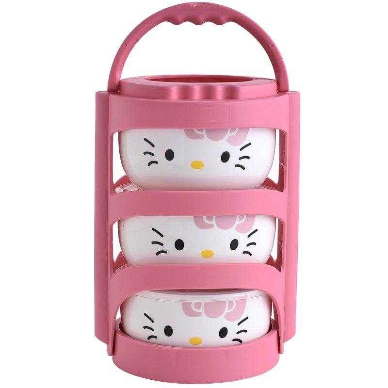 Helloo Kitty Box 4 unids/set caja de almuerzo de cerámica portátil con bolsas de aislamiento termo para alimentos niños fiambrera contenedor de almacenamiento de alimentos