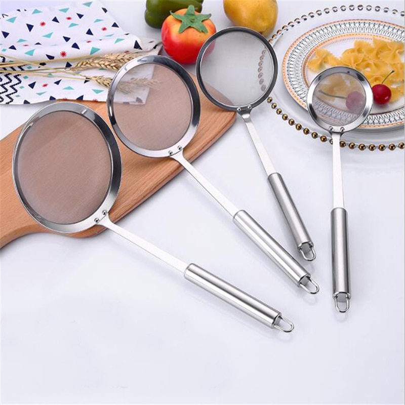 Kitchen Multi-functional Filter Spoon Stainless Steel Fine Mesh Wire Oil Skimmer Strainer Fried Food Net Gadgets