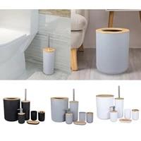 Ensemble daccessoires de salle de bain 6 pieces  distributeur de Lotion  plateau a savon  porte-brosse de toilette  poubelle