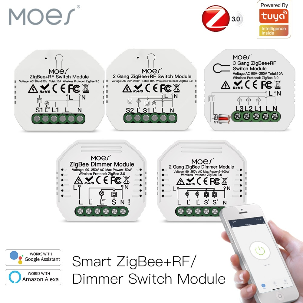 Moes Tuya ZigBee 3.0 Smart Light Switch Relay Module 1/2/3 Gang Smart Life/Tuya App Control, Works with Alexa Google Home Yandex