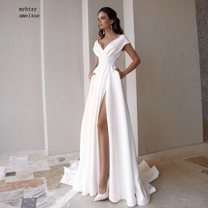 رخيصة بسيط بوهو حجم كبير فستان الزفاف 2020 الخامس الرقبة قصيرة الأكمام ألف خط زي العرائس الجانب سبليت الاجتياح قطار Vestido De Noiva