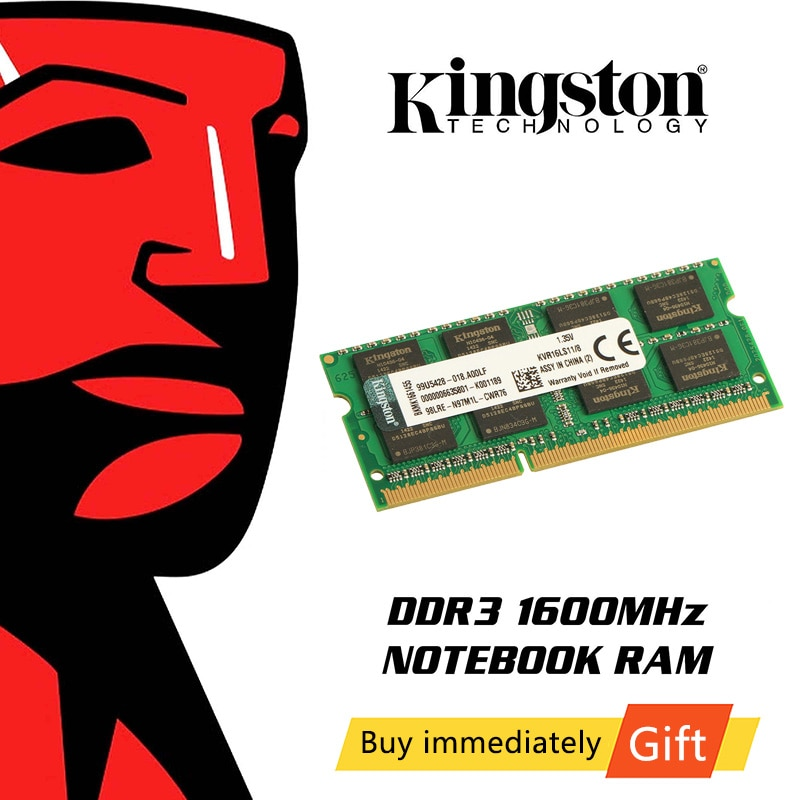 Kingston-ذاكرة وصول عشوائي DDR3 لأجهزة الكمبيوتر المحمول ، وذاكرة وصول عشوائي للألعاب ، و 4 جيجابايت ، و 8 جيجابايت ، و 1600 ميجاهرتز ، و 1.35 فولت