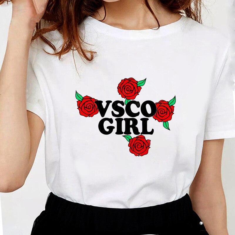 Camiseta Vsco Girl para mujer con estampado de letras, camisetas gráficas para mujer, de algodón suave camisetas blancas, camisetas de rosa para chica Vsco
