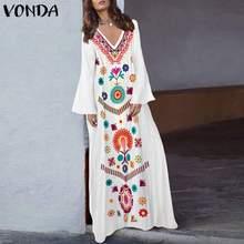 VONDA Bohemian 2020 Women Retro Floral Print Maxi Long Dress Sexy V Neck Long Flare Sleeve Dress Casual Loose Plus Size Vestidos