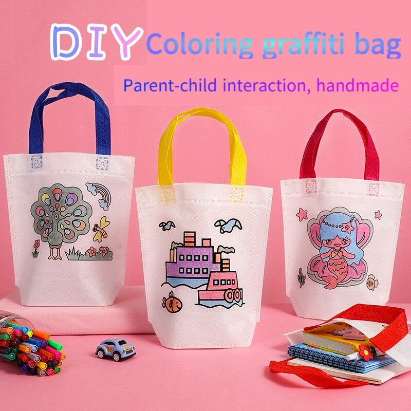 Puzzle Toy Children DIY Hand-Painted Environmentally Friendly Graffiti Bag Non-Woven Baby Painting G