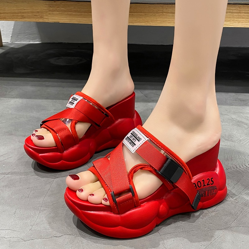 Sandalias de plataforma Rimocy 2020 para mujer, Sandalias de tacón alto de PVC para verano, zapatillas de tacón grueso para mujer, zapatos informales de playa para mujer