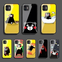 cartoon bear kumamons phone tempered glass case cover for iphone 5 6 7 8 11 12 5s 6s x xr xs se max plus pro mini shell cell